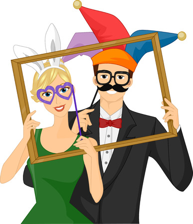 Illustration of a Couple Wearing Wacky Photobooth Props Holding a Frame Stock Photo