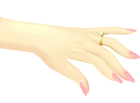 gems: Illustration of a Woman Showing Off Her Diamond Ring - eps10