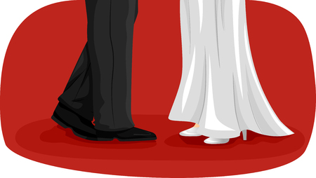 newlywed: Illustration of a Newlywed Couple Doing a Wedding Dance