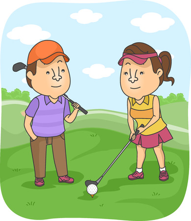 prepare: Illustration of a Man Watching His Girlfriend Prepare to Hit the Golf Ball