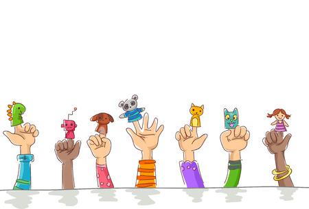 귀여워 애완 동물과 로봇의 손가락 인형을 입고 어린이의 테두리 그림 스톡 콘텐츠