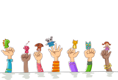 cuddly: Border Illustration of Kids Wearing Finger Puppets of Cuddly Pets and Robots Stock Photo