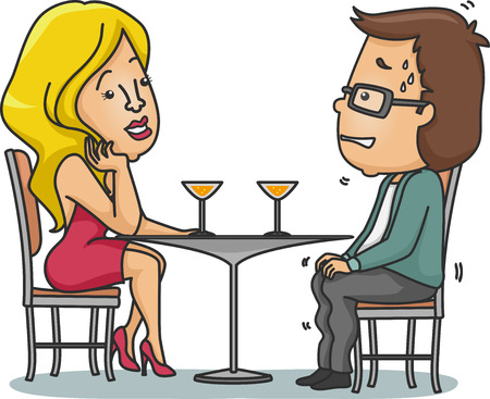 nervous: Illustration of a Man Sweating Nervously on His First Date Stock Photo