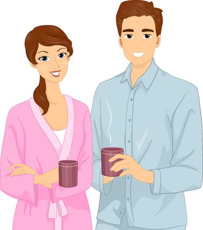 bathrobe: Illustration of a Couple in Their Pajamas Having Coffee Stock Photo