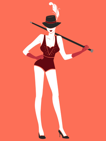 performing: Illustration of a Sexy Burlesque Dancer Striking a Pose