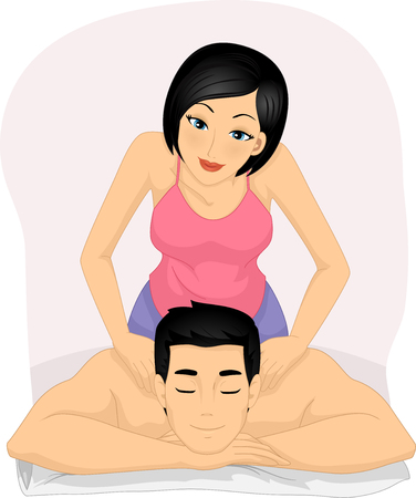 masseuse: Illustration of a Woman Giving Her Partner a Massage