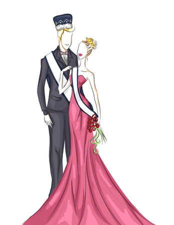 coronation: Illustration of a Homecoming Couple on Their Coronation Night