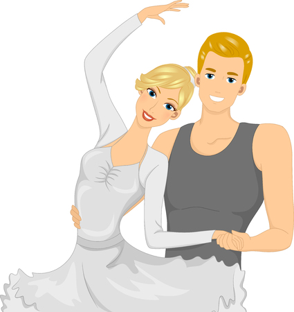 striking: Illustration of a Ballet Dancer Couple Striking a Pose Stock Photo