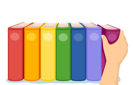 organize: Cropped Illustration of a Hand Arranging Colorful Books in a Shelf