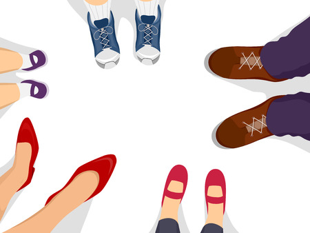 girl shoes: Illustration of a Family Forming a Circle with Their Feet