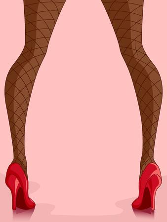 calcanhares: Colhida Ilustração de uma menina de peixes líquido meias e saltos elevados vermelhos Banco de Imagens