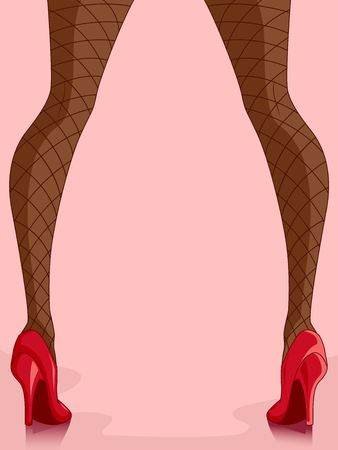 Cropped Illustration of a Girl Wearing Fish Net Stockings and Red High Heels Stock Photo