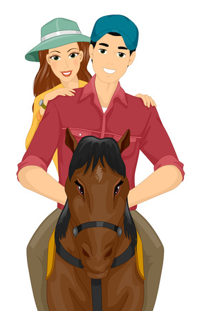 female animal: Illustration of a Couple Horseback Riding on a Date