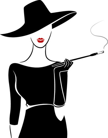smoking pipe: Stencil Illustration of a Girl Wearing Vintage Clothing Smoking a Cigar