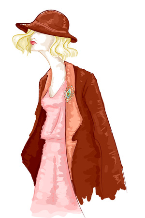 Watercolor Illustration of a Girl Wearing Vintage Clothing