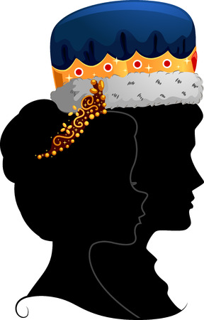woman side view: Profile Illustration Featuring the Silhouettes of a King and Queen