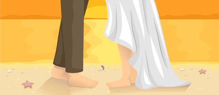 spiaggia: Illustrazione di una coppia che fa un ballo di nozze in spiaggia