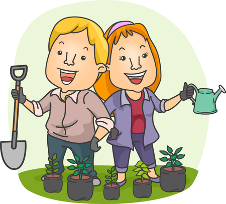 seedlings: Illustration of a Couple Planting Seedlings in Their Garden Together Stock Photo