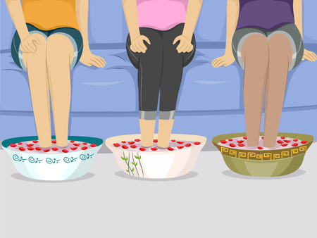 spa treatment: Illustration of a Group of Female Friends Having Foot Spa Stock Photo