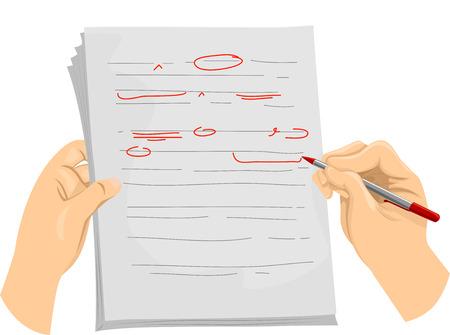 Illustratie van een Redacteur Schrijven Corrigeren Symbolen op een Document Stockfoto
