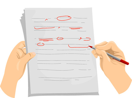 editor: Illustration of a Copy Editor Writing Proofreading Symbols on a Document