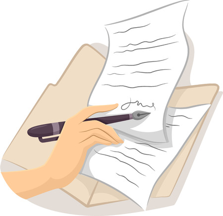 signing a contract: Cropped Illustration of a Hand Signing a Contract