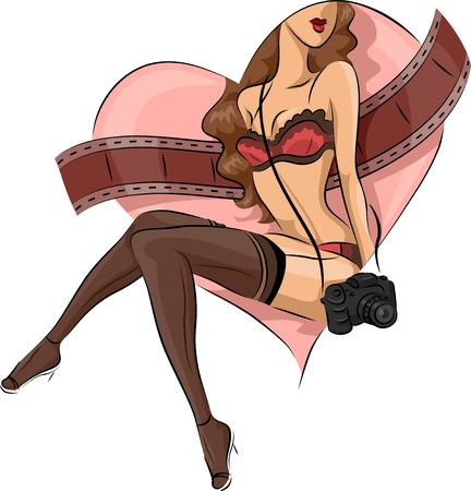 boudoir: Illustration of a Sexy Girl Posing for a Boudoir Photograph