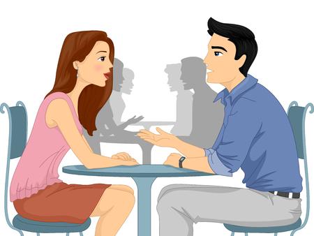 Ilustración de un hombre y la mujer pidiendo a cada otra pregunta en un evento de Speed ??Dating