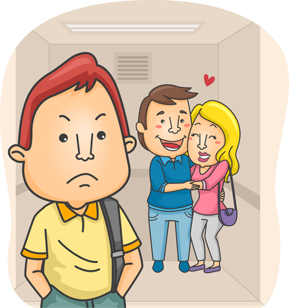 lonely person: Illustration of a Man Jealous of a Lovey Dovey Couple