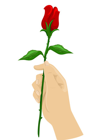 dating and romance: Cropped Illustration of a Hand Holding a Long Stemmed Rose Stock Photo
