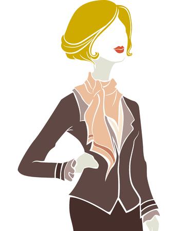 girl pose: Illustration of a Fashionable Parisian Girl Striking a Pose