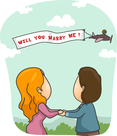 proposal of marriage: Romantic Illustration of a Man Proposing to His Girlfriend Through Skywriting