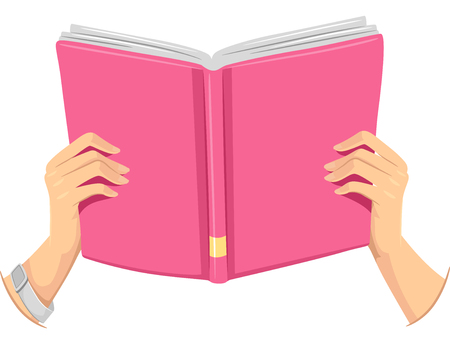 holding hands: Cropped Illustration of a Girl Holding an Open Book