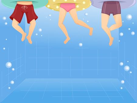 Illustratie van kinderen dragen Drijvers zwemmen in een zwembad Stockfoto