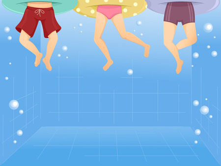 Illustration of Kids Wearing Floaters Swimming in a Pool Stok Fotoğraf