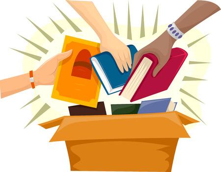 책으로 가득 기부금 상자의 그림 스톡 콘텐츠