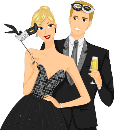masquerade masks: Illustration of a Couple at a Masquerade Ball Removing Their Masks