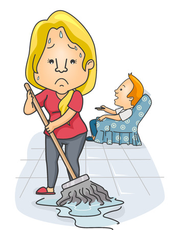 household tasks: Illustration of a Woman Mopping the Floor While Her Partner Watches TV