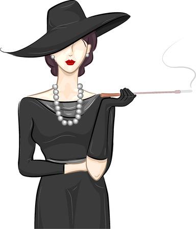 black dress: Illustration of a Fashionable Girl Wearing a Vintage Black Dress Smoking a Cigar