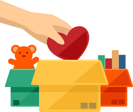 charitable: Flat Illustration of a Hand Dropping a Heart to a Donation Box