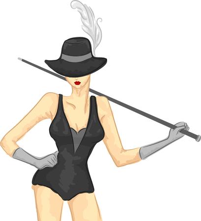 danseuse: Illustration Sketchy d'une danseuse burlesque prenant une pose