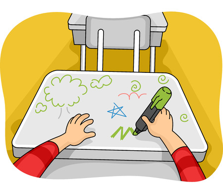 vandal: Illustration of a Kid Drawing Doodles on His Table Stock Photo