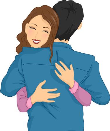 femme romantique: Illustration d'une femme étreignant Heureusement son partenaire Banque d'images