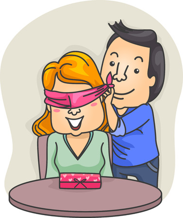 girlfriend: Romantic Illustration of a Man Blindfolding His Girlfriend Before Unveiling His Surprise