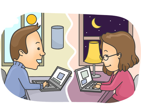 distance: Illustration of a Couple in a Long Distance Relationship Chatting Over the Internet