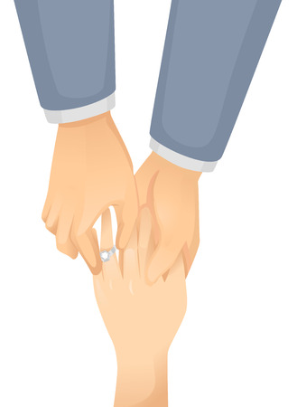 ring finger: Illustration of a Gay Man Putting an Engagement Ring on His Partners Finger