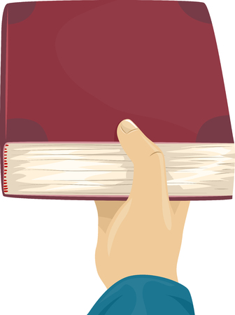 cropped: Cropped Illustration of a Man Handing Over a Book Stock Photo