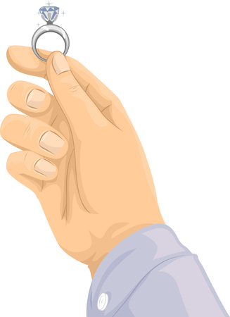 Cropped Illustration of a Hand Holding a Diamond Ring Against the Light Stock Photo