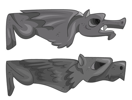 grotesque: Illustration of a Pair of Gargoyles Lying Horizontally