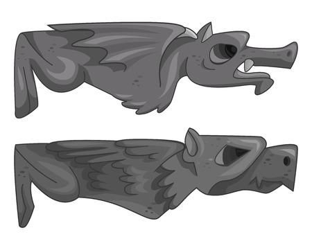 Illustration of a Pair of Gargoyles Lying Horizontally
